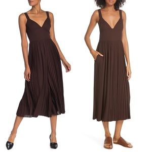 Vince Brown Pleated Jumpsuit Wide leg Pants 10